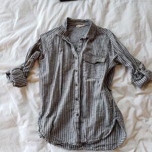 Long Sleeve Cotton Stripe Button Down